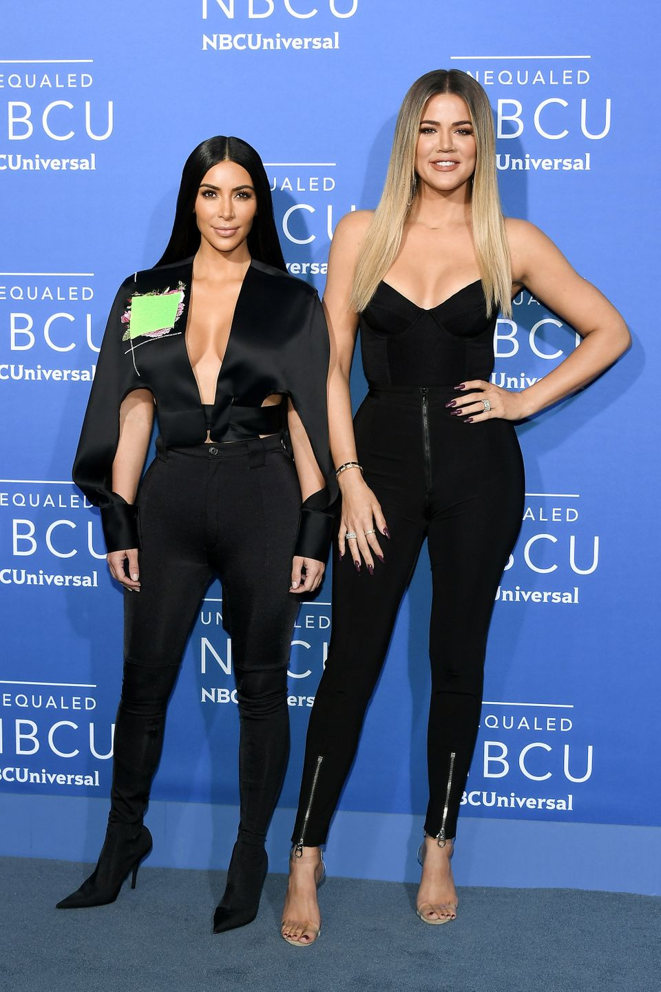 NEW YORK, NY - MAY 15:  Kim Kardashian West (L) and Khloe Kardashian attend the 2017 NBCUniversal Upfront at Radio City Music