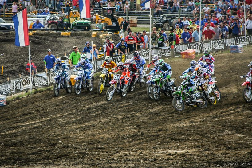 Ryan Dungey (no. 142 on the yellow machine) has a strong start in the 250 class at Broome-Tioga near Binghamton, NY during hi