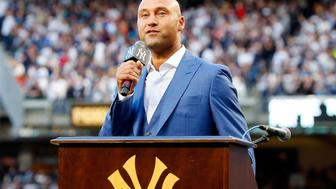 NEW YORK, NY - MAY 14:  (NEW YORK DAILIES OUT)   Derek Jeter speaks to the fans during his number retirement ceremony at Yankee Stadium on May 14, 2017 in the Bronx borough of New York City.  (Photo by Jim McIsaac/Getty Images)