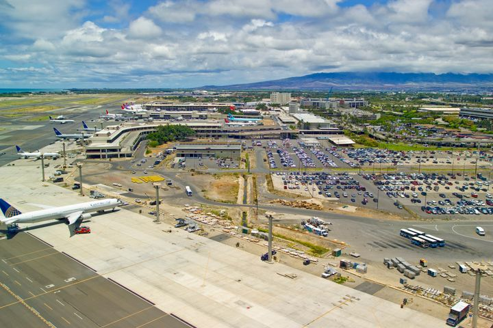 A man was arrested on Friday at a Honolulu airport (pictured above)m after causing a disturbance during an American Airlines