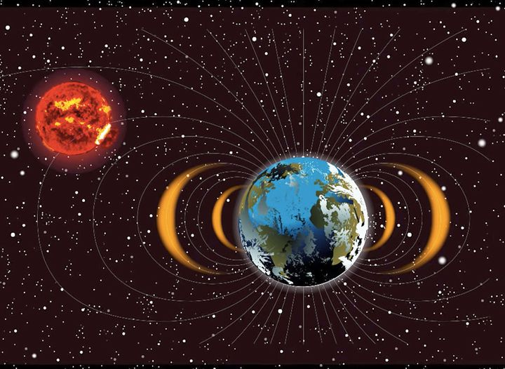 This is an illustration of layers of radiation belts close to Earth that were produced as a result of Cold War high-altitude