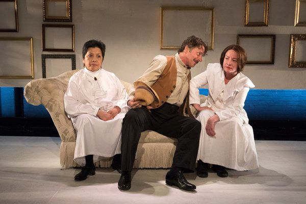 """From left, Mia Katigbak (Gertrude Stein), Grant Neale (Ernest Hemingway) and Alyssa Simon (Alice Toklas) in """"The Marriage of"""