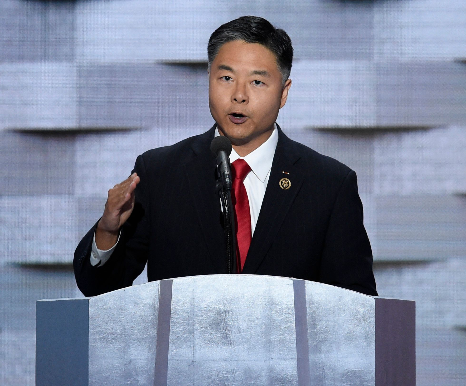 US Representative Ted Lieu of California addresses delegates on the fourth and final day of the Democratic National Convention at Wells Fargo Center on July 28, 2016 in Philadelphia, Pennsylvania.   / AFP / SAUL LOEB        (Photo credit should read SAUL LOEB/AFP/Getty Images)