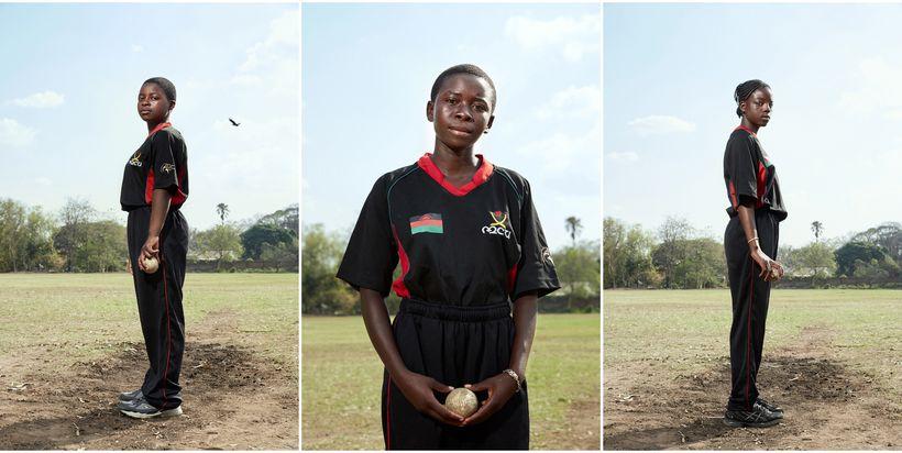 From left to right: Brenda, bowler; Triphonia, allrounder; Chimwemwe, allrounder, Malawian U19 Women's Cricket Team, Blantyre