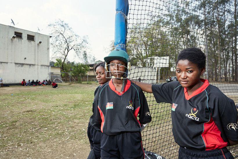 From left to right: Dalitso, Dalida & Shahida take a break from batting practice, Malawian U19 Women's Cricket Team, Blantyre