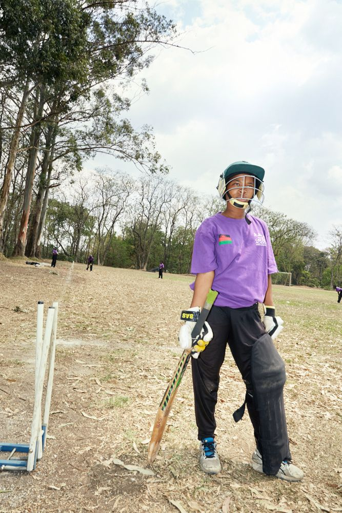 Vice captain Mary during fielding practice, Blantyre, Malawi, 2016.