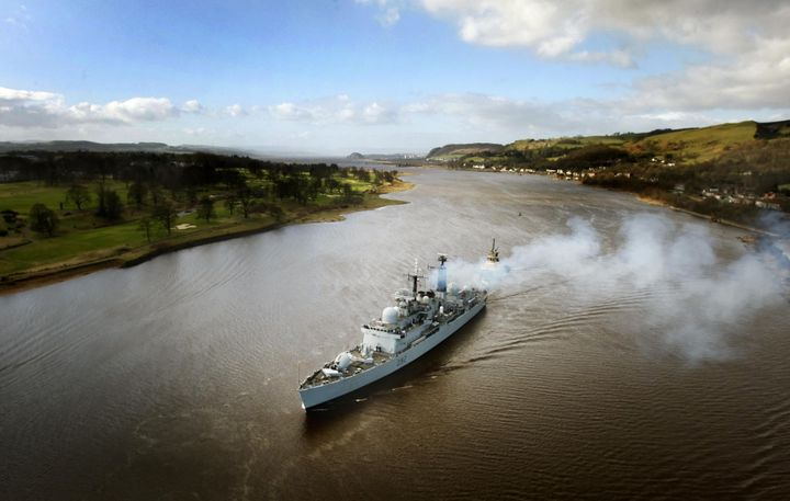 Type 42 destroyer HMS Liverpool sails up the River Clyde on a four-day visit to Glasgow