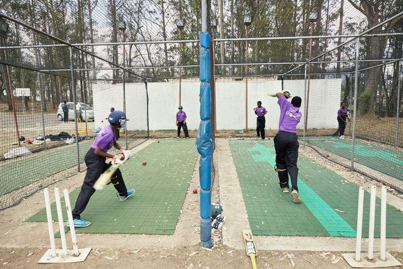 Batting practice, Malawian U19 Women's Cricket Team, Blantyre, Malawi, 2016.