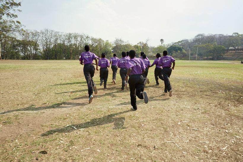 The girls run during a training session, Malawian U19 Women's Cricket Team, Blantyre, Malawi, 2016.