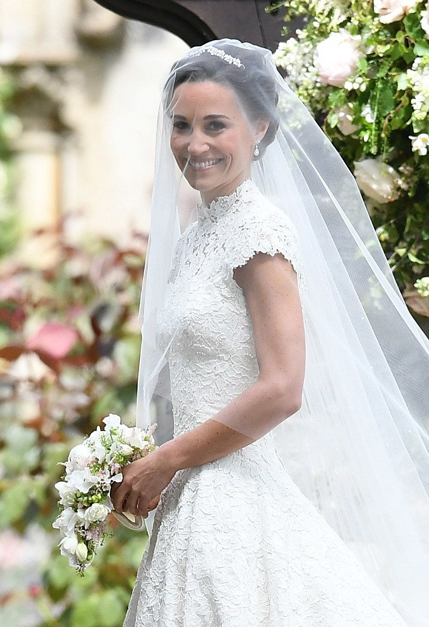 Pippa Middleton arrives at the wedding of Pippa Middleton and James Matthews at St Mark's Church on May...