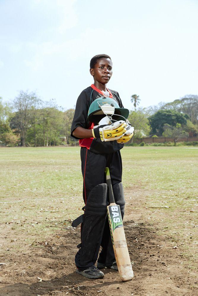 Tadala, batsman, Malawian U19 Women's Cricket Team, Blantyre, Malawi, 2016.