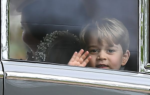Prince George waves from the wedding of his aunt Pippa Middleton.