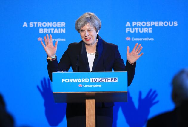 Theresa May launching her manifesto in