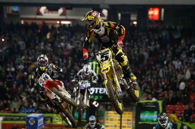Dungey checks his six o'clock while mid-flight at the 2010 Atlanta Supercross, which he would later go onto win. Ryan would w