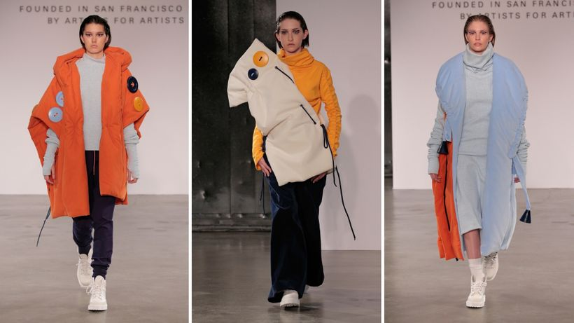 Models wearing designs by Bowen Tian