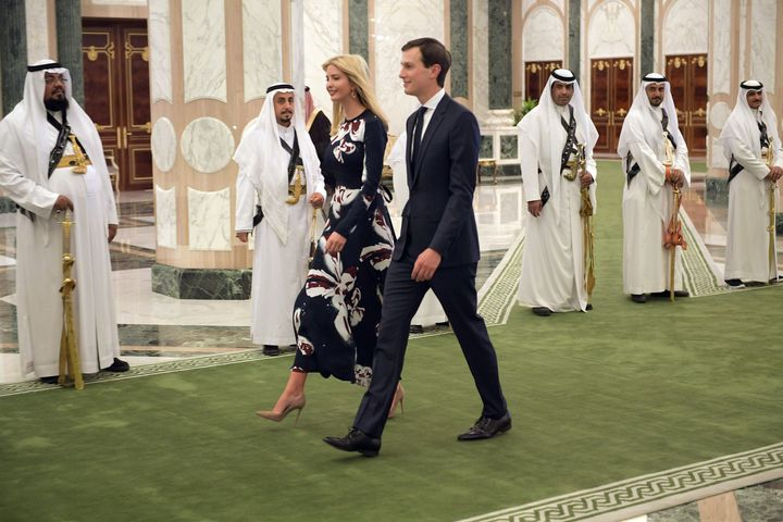 Ivanka Trump and Jared Kushner arrive to attend the presentation of the Order of Abdulaziz al-Saud medal at the Saudi Royal C