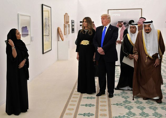 U.S. President Donald Trump, first lady Melania Trump and Saudi Arabia's King Salman bin Abdulaziz al-Saud,...