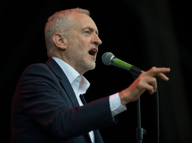 Labour leader Jeremy Corbyn speaks to the crowd at Wirral Live at Prenton