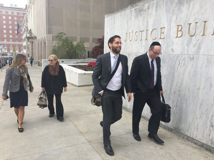 <em>Rabbis Ari Hart (front, left) and Mike Moskowitz (front, right) on their way to New York State Assembly offices in Albany
