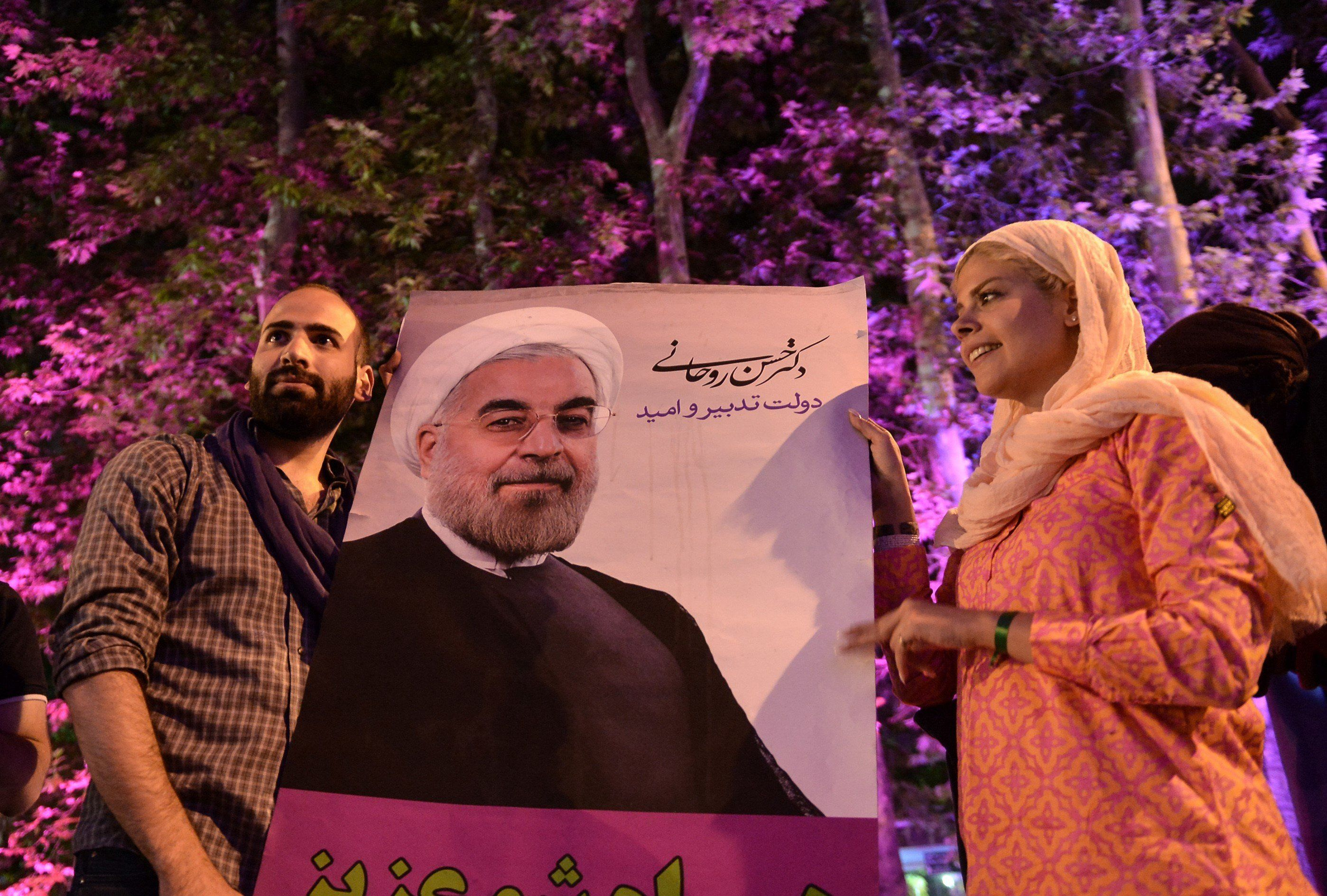 Supporters of Rouhani celebrate after the results of the Iran vote were announced. Tehran, Iran. May 20.