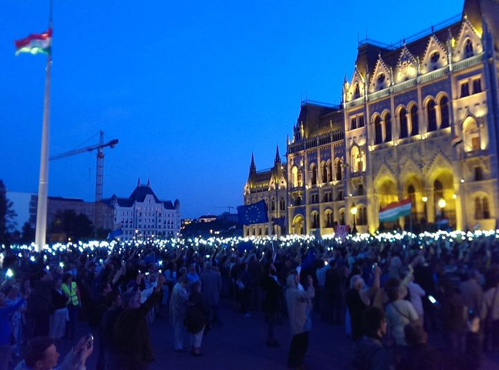 Thousands of protestors gather outside Hungary's parliament tonight.