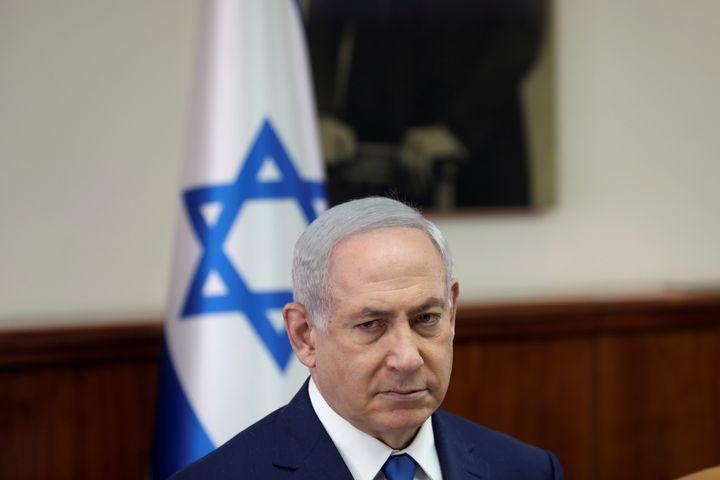 Israeli Prime Minister Benjamin Netanyahu attends a weekly cabinet meeting in Jerusalem on May 21, 2017. Netanyahu was report