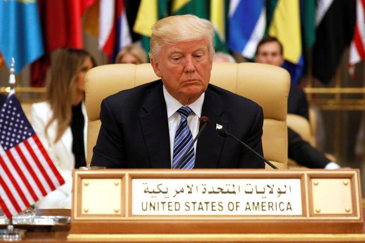 U.S. President Donald Trump takes his seat before his speech to the Arab Islamic American Summit in Riyadh, Saudi Arabia, on