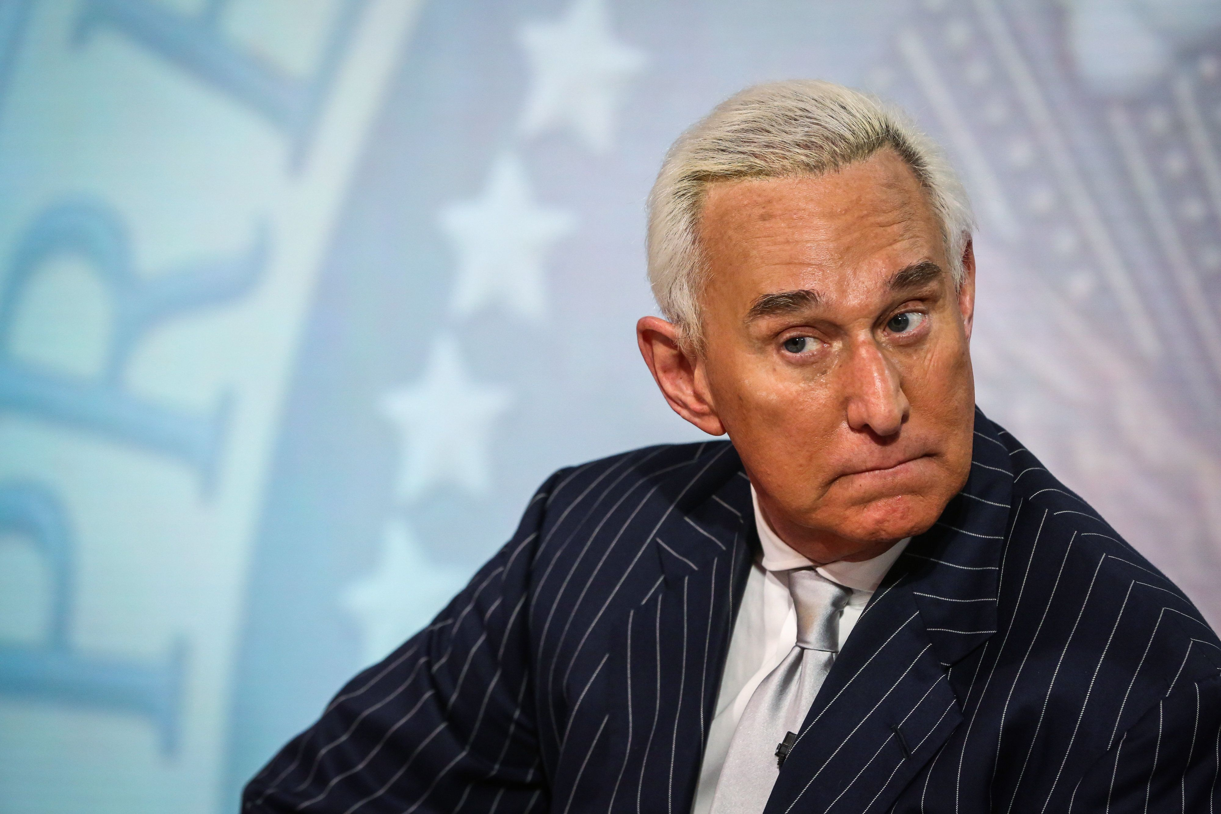 Roger Stone, former adviser to Donald Trump's presidential campaign, listens during a Bloomberg Television interview in New York, U.S., on Friday, May 12, 2017. Stone discussed the congressional investigation into Russia's alleged meddling in the 2016 elections. Photographer: Christopher Goodney/Bloomberg via Getty Images