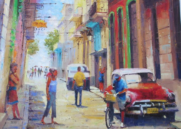 This painting depicts a typical scene on the streets of Havana
