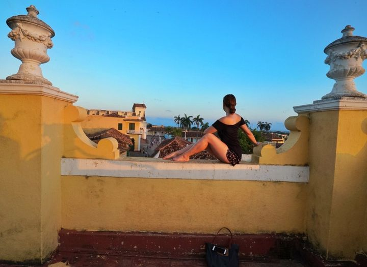<p>Sunsets in Trinidad are golden from the top of a bell tower</p>