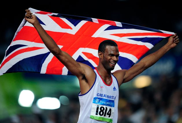 Mason celebrates after winning silver for Team GB at theBeijing 2008 Olympic