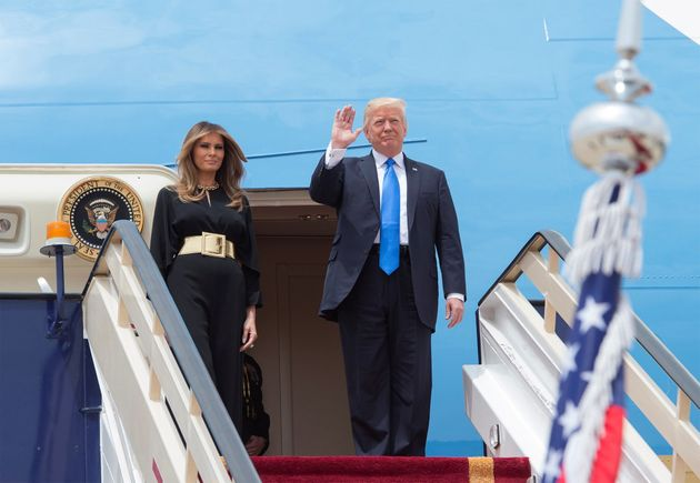 Donald and Melania Trump arrive in Riyadh for his first foreign visit as US