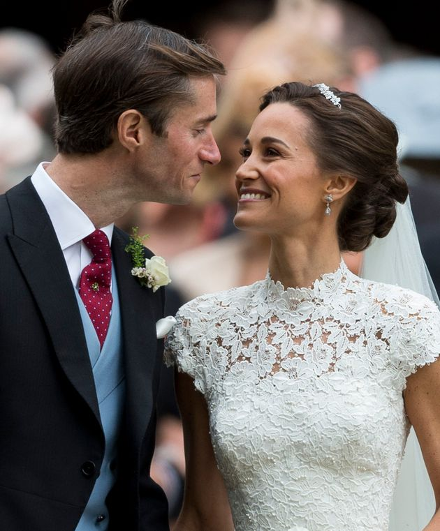 Pippa Middleton and James Matthews after their wedding at St Mark's Church on 20 May 2017 in Englefield...
