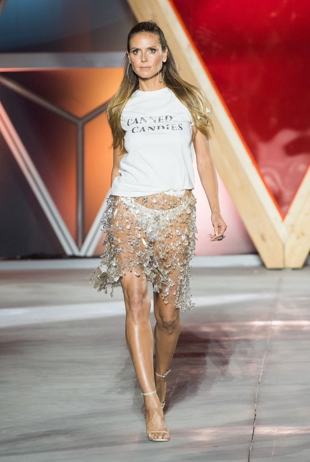 Heidi Klum walks the runway at the Fashion for Relief event during the 70th annual Cannes Film Festival...
