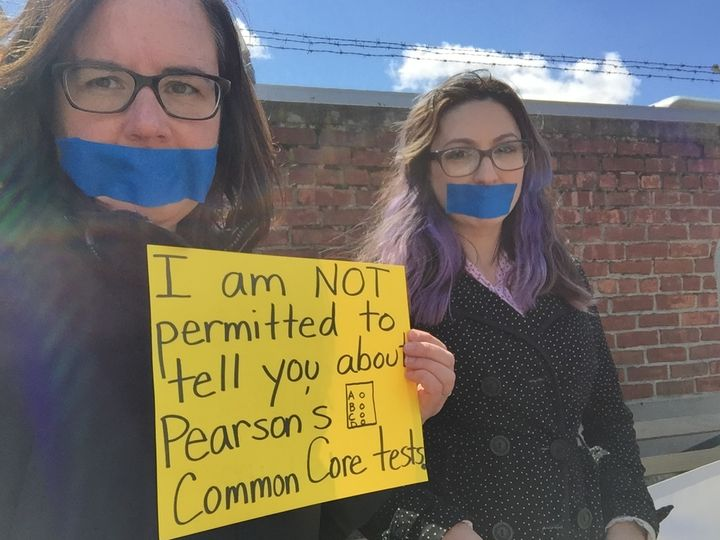 New York teachers protest secrecy behind Pearson Common Core exams.