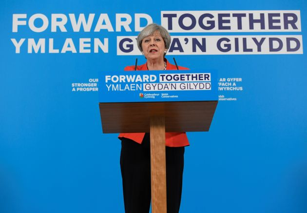 Theresa May speaks at the launch of the Welsh Conservative manifesto on