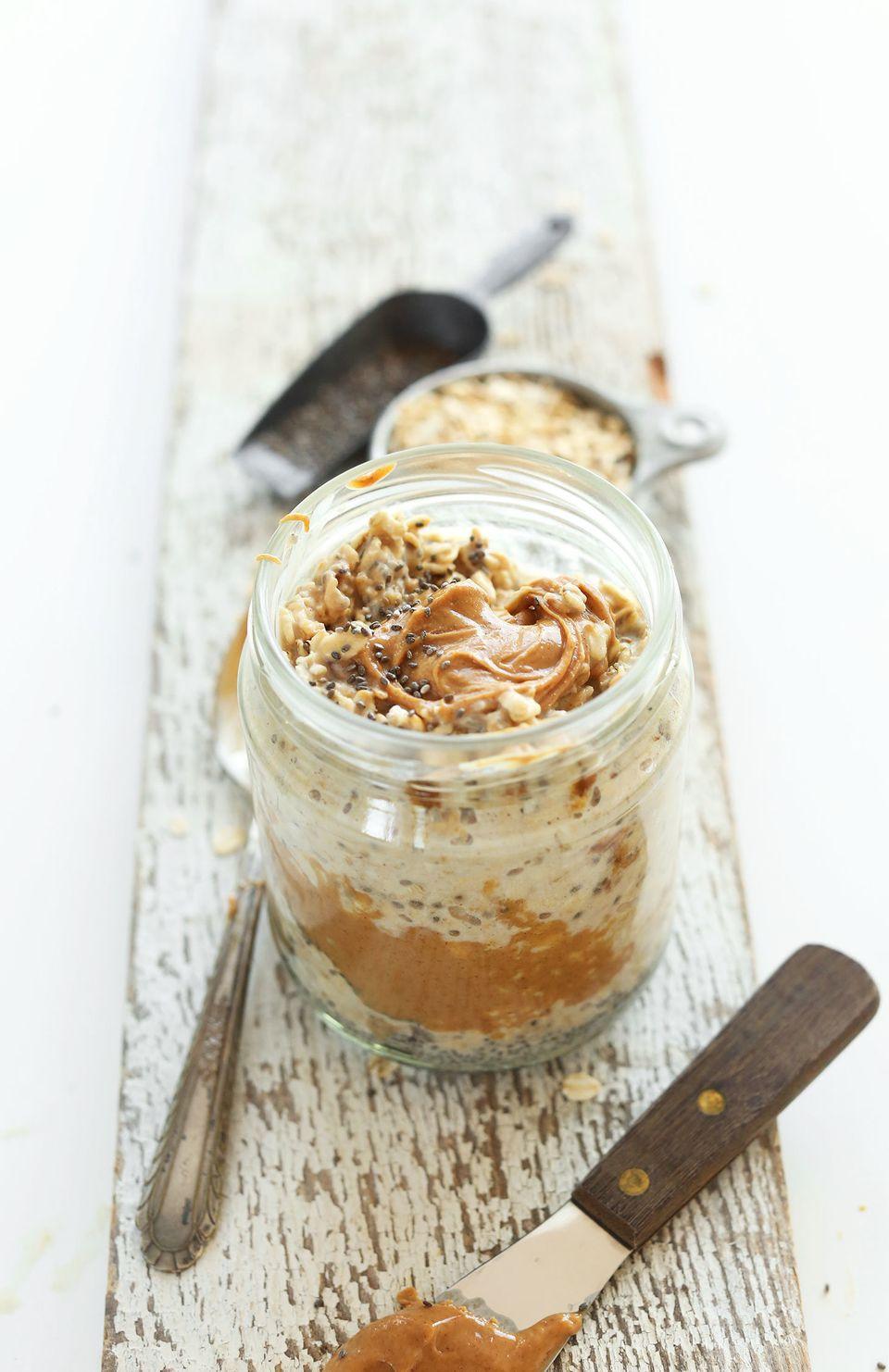 """<strong>Get the <a href=""""https://minimalistbaker.com/peanut-butter-overnight-oats/"""" target=""""_blank"""">Peanut Butter Overnight O"""