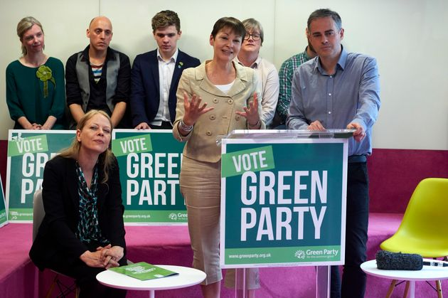 Caroline Lucas and Jonathan Bartley at the launch of the 'Green