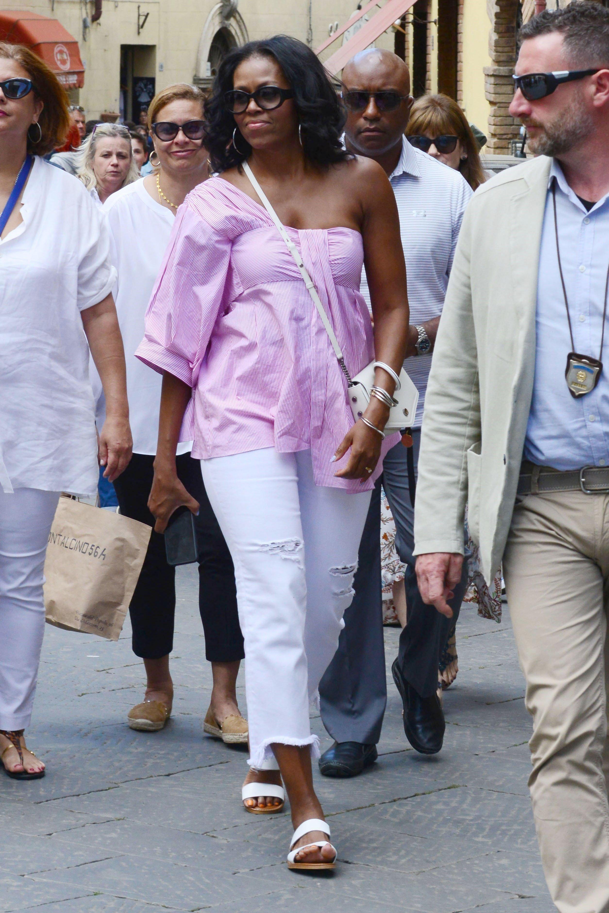 Michelle Obama pictured exploringinMontalcino, Italy