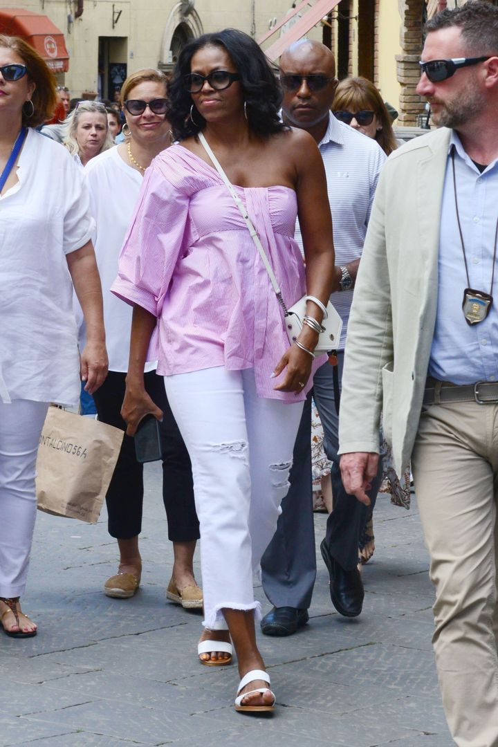 Michelle Obama pictured exploring in Montalcino, Italy