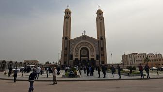 A general views shows the Monastery of Marmina in the city of Borg El-Arab, east of Alexandria on April 10, 2017, as mourners attend the funeral of victims of the blast at the Coptic Christian Saint Mark's church in Alexandria the previous day. Egypt prepared to impose a state of emergency after jihadist bombings killed dozens at two churches in the deadliest attacks in recent memory on the country's Coptic Christian minority. / AFP PHOTO / MOHAMED EL-SHAHED        (Photo credit should read MOHAMED EL-SHAHED/AFP/Getty Images)