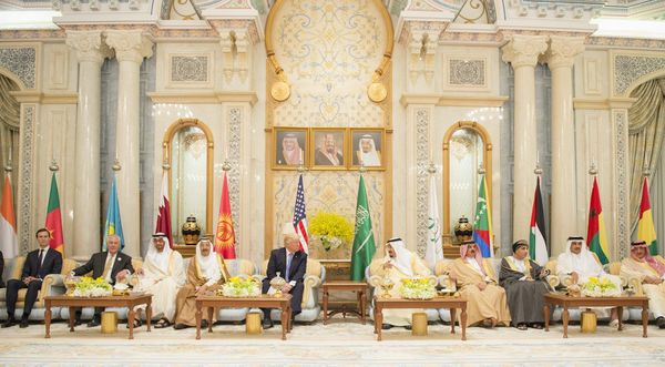 Trump (fifth from left); King Salman (fifth from right); Gen. Sheikh Mohammed bin Zayed Al Nahyan (third from left), the
