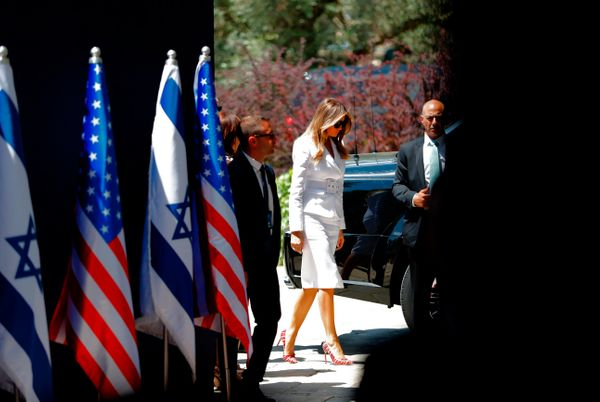 Melania Trump arrives at the President's Residence in Jerusalem on May 22, 2017.