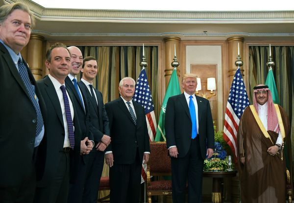 Trump, Tillerson (third from right) and other members of the U.S. delegation take part in a bilateral meeting with Saudi Crow