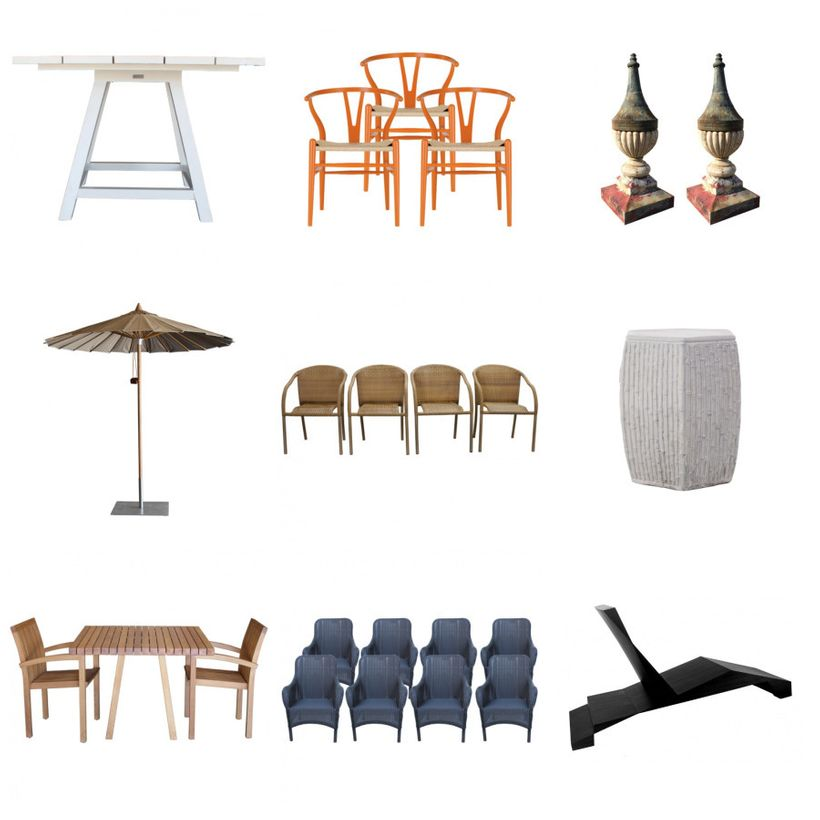 Top Row J Et Cie Dolce Vita Square Table Hans Wegner Orange Wishbone Chairs Antique Tole Garden Finials