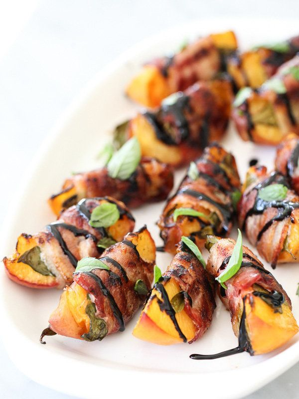 "<strong>Get the <a href=""http://www.foodiecrush.com/2014/09/bacon-wrapped-grilled-peaches-with-balsamic-glaze/"" target=""_blan"