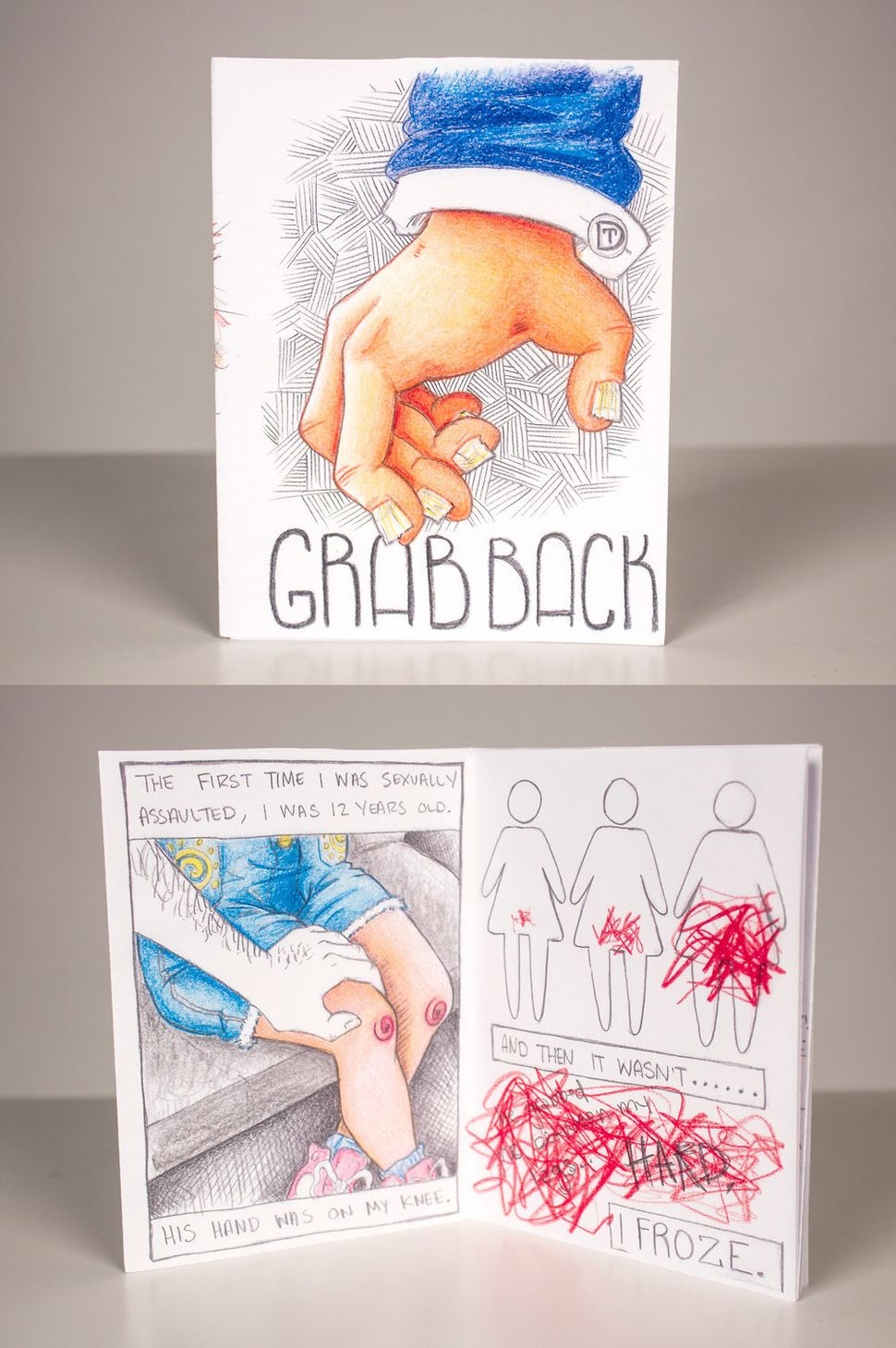 "Erin Zerbe, ""Grab Back."" Eight-page mini-comic/zine."