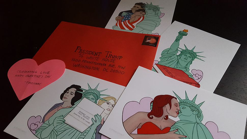 "Firegnat, ""Liberty Loves Valentines."" Digital illustration/archival inkjet print, 5 in. by 3 in."
