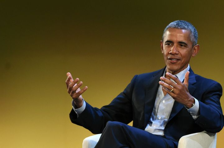 Former U.S. President Barack Obama speaks during the Seeds & Chips Global Food Innovation Summit on May 9 in Milan, Italy.