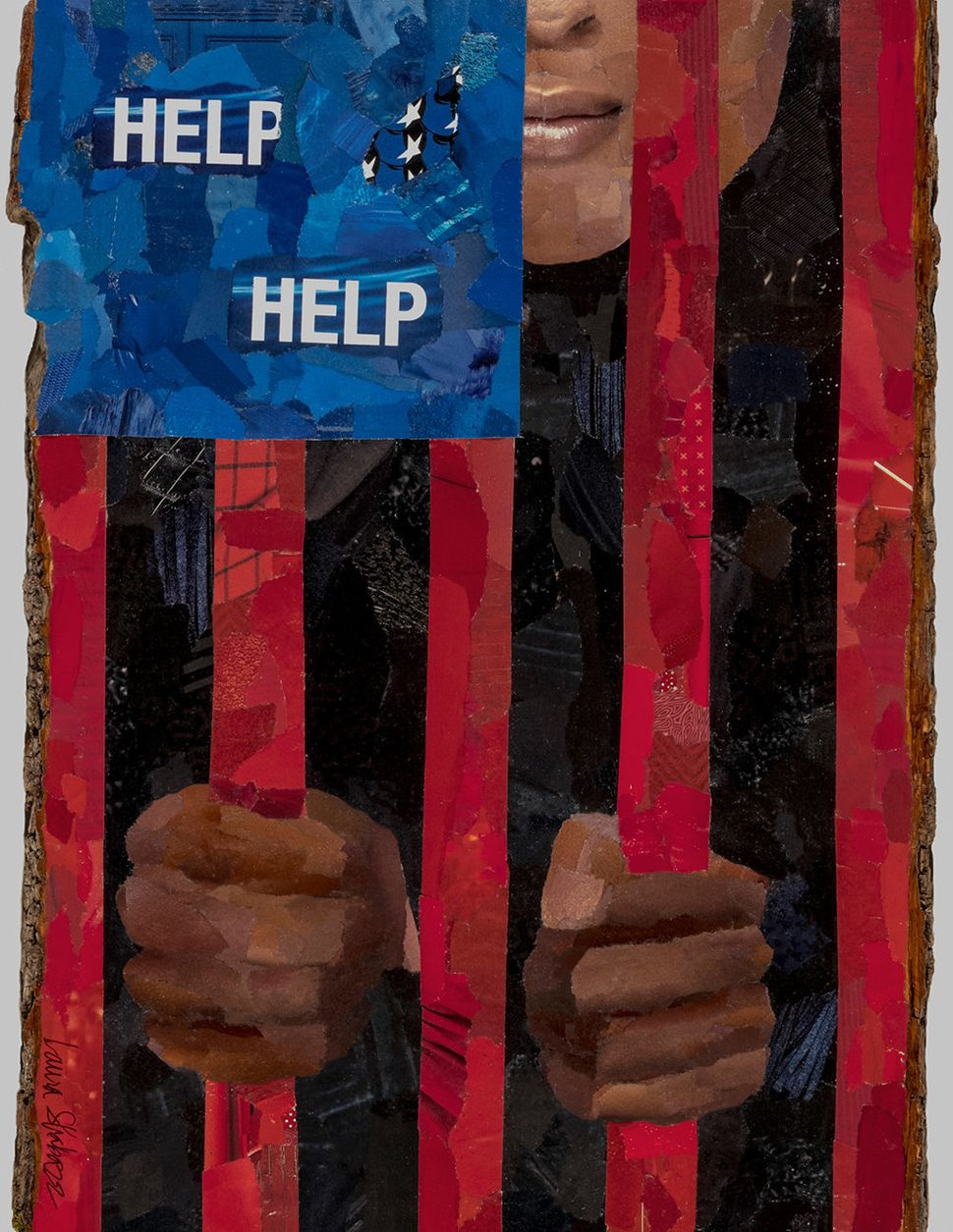"Laura Shabazz, ""Help."" Archival inkjet print of magazine paper collage."